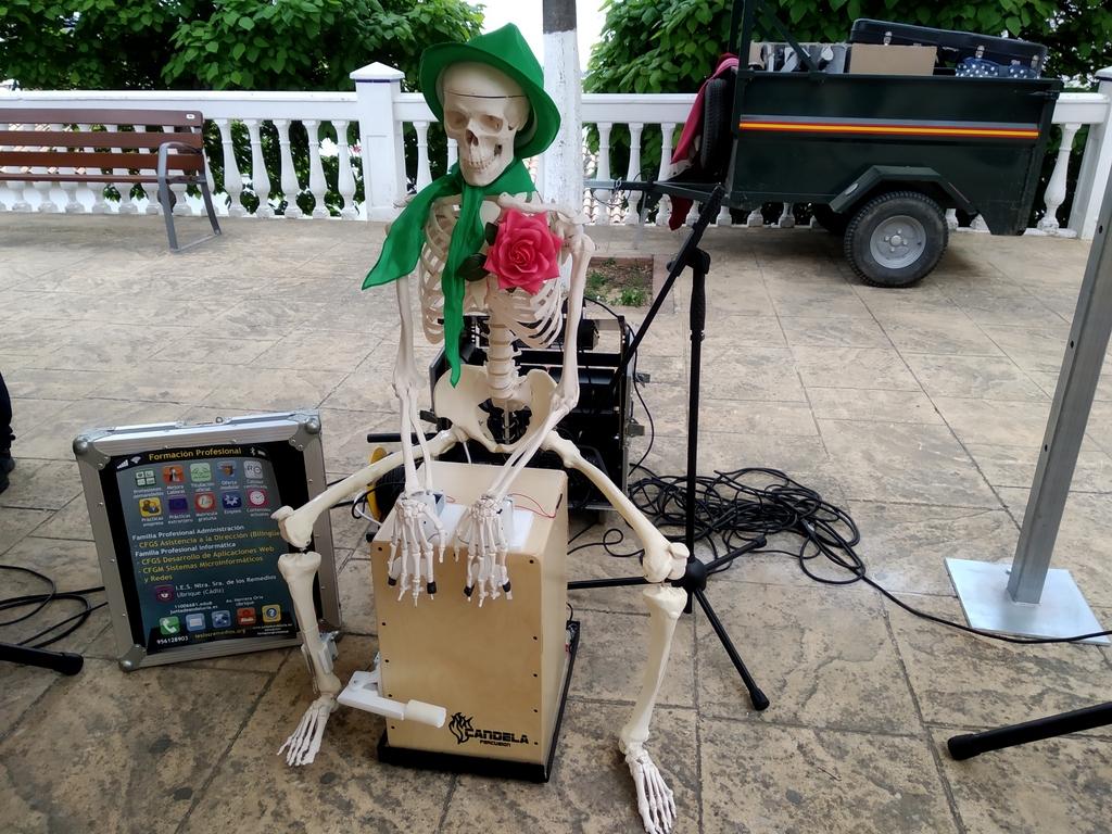 Esqueleto robotizado que toca caja flamenca
